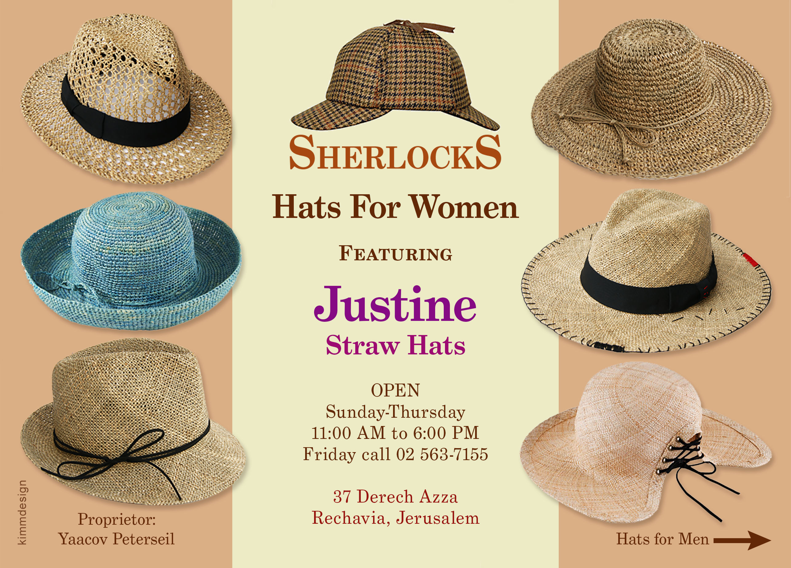 image of Sherlocks flier for Justine hats