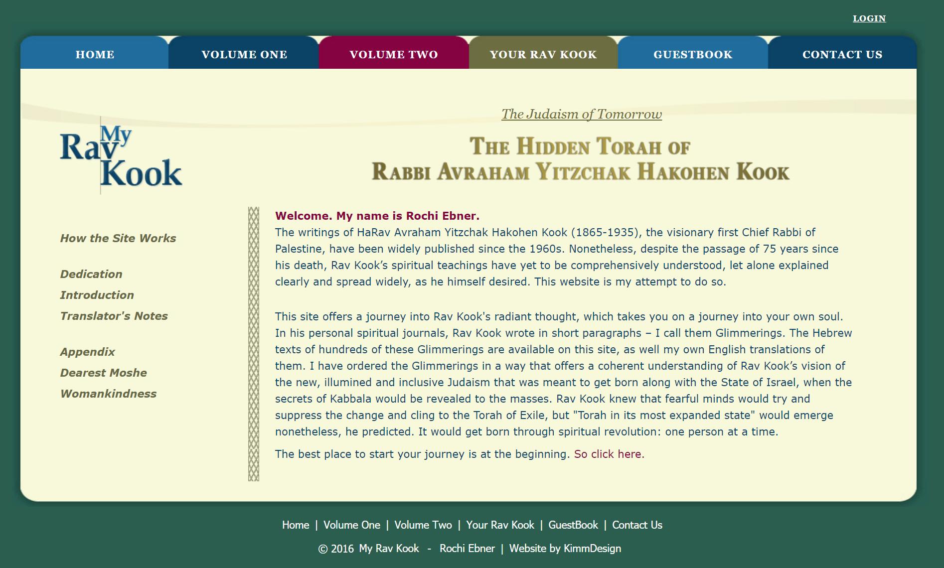 My Rav Kook home page image