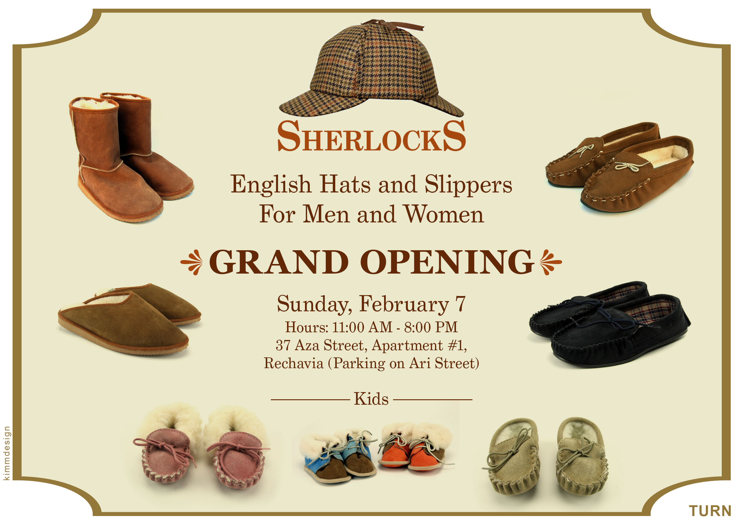 image of Sherlocks flier showing hats and slippers