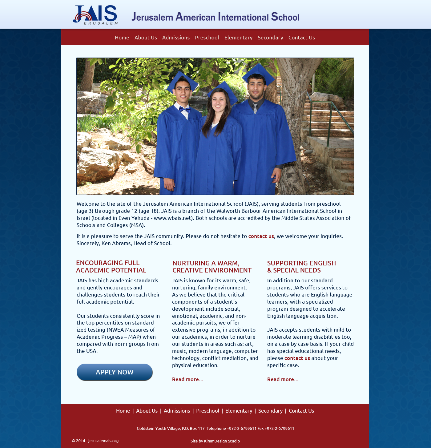 Jerusalem American International School (JAIS) home page design image